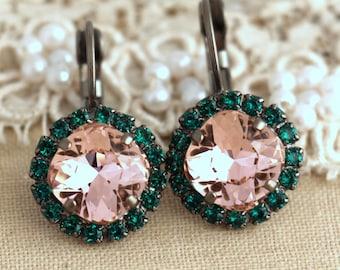 Blush Earrings, Blush Emerald Green Earrings, Blush Drop Earrings, Mothers Day Gift, Bridesmaids Earrings, Pink Green Crystal Drop Earrings