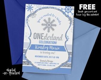 Winter OneDerland Birthday Invitation, First Birthday Invitation, Blue Birthday, Snowflake