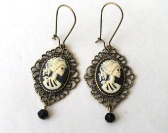 Zombie Earrings, Filigree Earrings, Skull Earrings, Lolita Earrings, Skeleton Cameo Earrings, Bronze