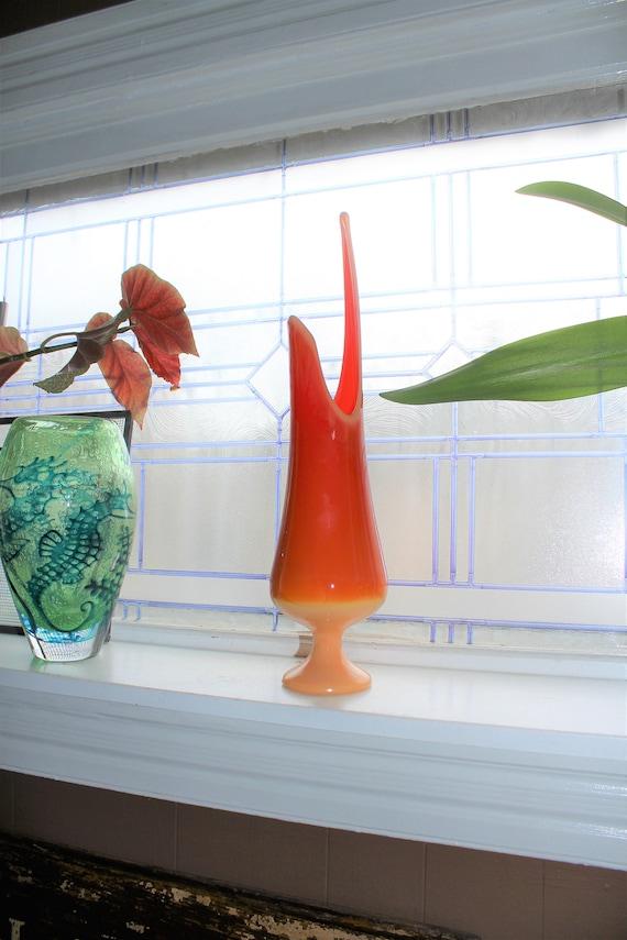 "Large Orange Slag Glass Vase 18"" Vintage Mid Century Swung Glass"