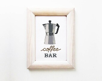 Coffee cross stitch pattern -  Coffee Bar sign - PDF - Instant download