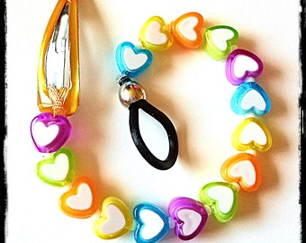 Rockin Aid Retainers:  Bright and Beautiful Petite Hearts!  Made with Acrylic and Czech Glass Beads!  Please select quantity 2 for a pair!