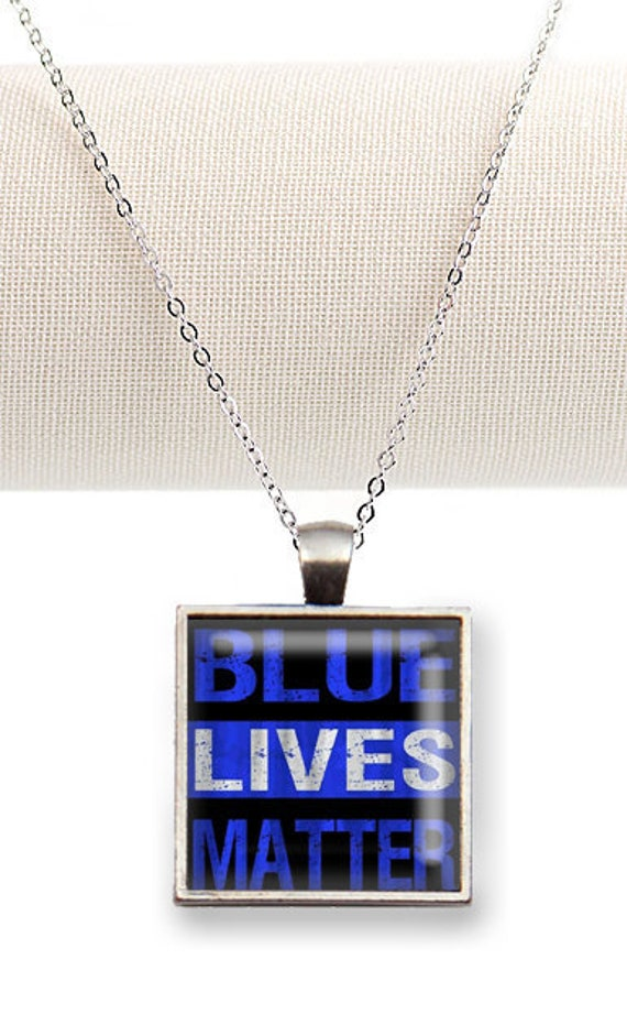 Thin Blue Line -Blue Lives Matter. Silver Tray Necklace