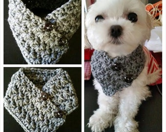 Crocheted Small Dog neck warmer, dog neck warmer,  Puppy scarf fits most S or M dogs