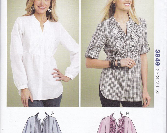 Free Us Ship Sewing Pattern Kwik Sew 3849 Misses Big Blouse Pleated Yoke Inset Plus Size XS-XL Bust 30 32 34 36 38 40 42 44 45 Uncut 2012