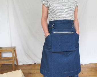 Craft Sellers Denim Apron with Cash Bag for Artists Makers Markets Fairs. Blue. No12