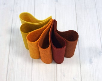 Felt Bundle - Autumn Harvest Color Set - Wool Blend Felt Sheets, 9 x 12 inches