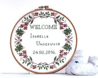 Birth announcement counted cross stitch pattern personalized embroidery hoop art for nursery Welcome cross stitch baby girl boy record