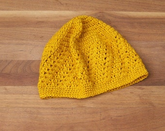 Summer Lace Beanie - Crochet Kufi Hat - Skull Cap - Boho - Festival Clothing -  Mustard Yellow