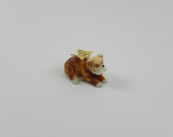 Miniature Bull Dog TINY fairy pupy, fairy garden accessories, fairy pet, terrarium accessory MICRO MINIATURE dog