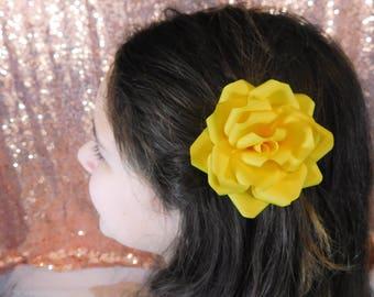 Flower Girl Hair Clip - Flower Hair Clip - Paper Flower Hair Clip - Yellow Paper Flower -Yellow Flower Hair clip - Wedding Flower Hair Piece