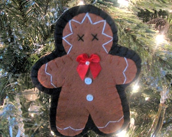 Wool Felt Hand Stitched GINGERBREAD MAN ORNAMENT -Fiber Art - Christmas Ornament - Home Decor - Gingerbread - Holiday Decor - Gift