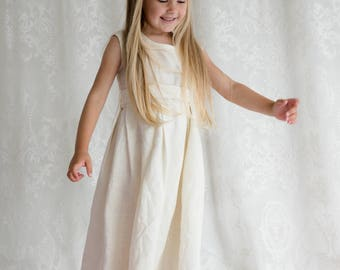 Ivory girls linen dress, Christening dress, Ivory flower girl dress, Rustic wedding flower girl outfit, Toddler linen dress, Champagne dress