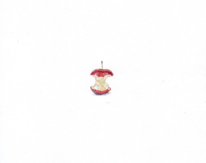 Print of Miniature painting of an Apple Core. tiny painting Apple Core art 5 x 5