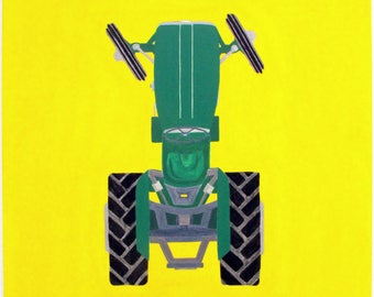 Massey Ferguson. Hand painted Fergie Tractor. Acrylic painting. Green, yellow and metalic paint