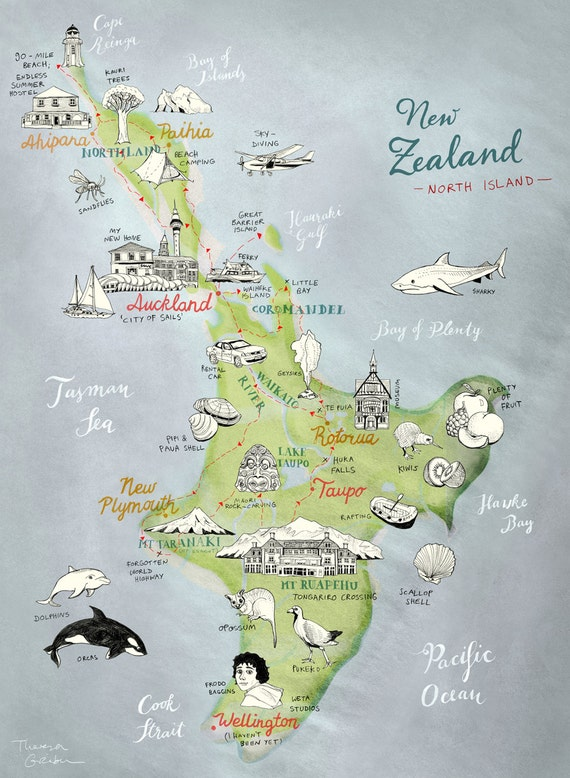 Large Print New Zealand Map of North Island Giclee Art Print