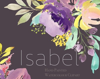 Watercolor Flower Clipart - Isabel - Hand Painted Floral Graphic Elements