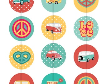 One Inch Hippie Love Bus Flatbacks, Pins or Magnets 12 Ct.