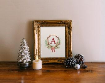 Christmas Monogram Art Print, Christmas Wall art printable, Christmas art, holiday decoration, winter decor, Monogram Printable Wisdom