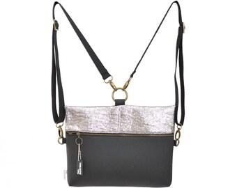 Dark shiny silver black backpack (4 bags in 1), vegan bag, Side bag, clutch purse eco friendly bag, mini backpack, cross body bag, Rectangle