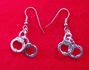 Hand cuff  earrings, stainless steel ear wire,Tibetan  silver, finished on both sides.