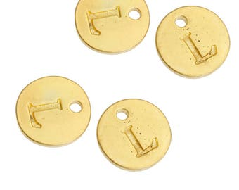 Letter L - 12mm Golden gold pendant