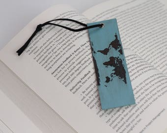Wooden bookmark etsy world map wooden bookmark imagination will often carry us to worlds that never were gumiabroncs Gallery