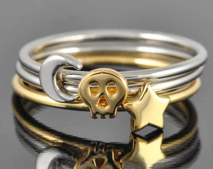 Gold skull ring, sterling silver ring, Halloween ring, novelty ring