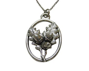 Oak Tree Leaf with Acorns Large Oval Pendant Necklace