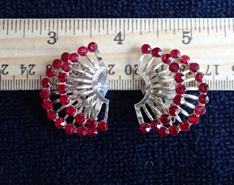 Red Rhinestone and Gold-tone Clip Earrings