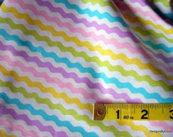 One Yard Cut Quilt Fabric, Easter/Spring Colors,  Rick Rack Stripes, Sewing-Quilting-Craft Supplies