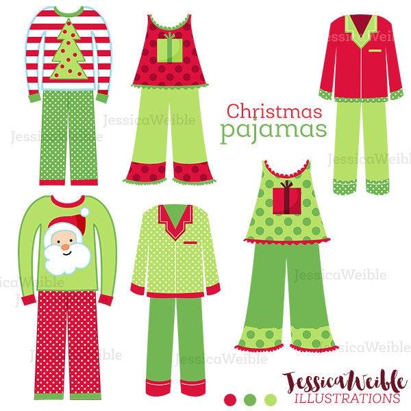 christmas pajamas cute digital clipart christmas clip art rh etsy com clipart woman in pajamas pink pajamas clipart