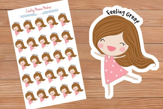 Feeling great planner stickers cute girl sticker happy planner erin condren planner from craftymamamakes on etsy studio