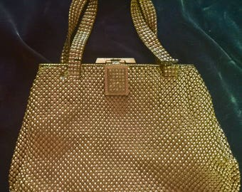Whiting Davis 1920's Gold Metal Mesh Evening Bag with 2 Handles