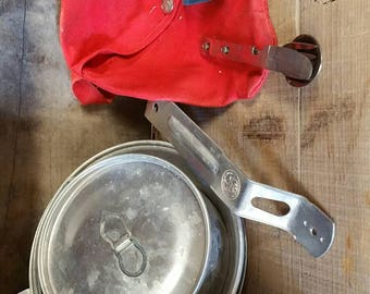 Boy Scout Mess Kit, FREE SHIPPING, USA Stainless steel nesting cutlery with pouch, mess kit, camping, scout memorabilia