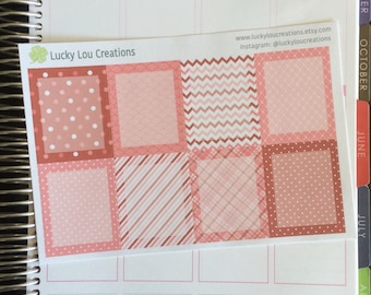 Set of 8 Full Daily Box Patterned Stickers designed for Erin Condren Vertical Life Planner - Pink and Red
