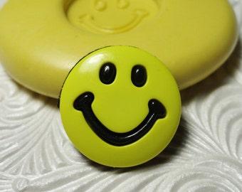 SMILEY FACE MOLD Flexible Silicone Rubber Push Mold for Resin Decoden Fondant Clay Kawaii 6104