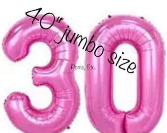 "30 pink 40"" number Balloon jumbo / foil balloon/ number balloons/ Pink / 40 inch"