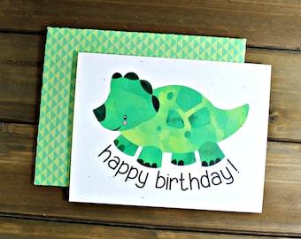 Dinosaur Birthday, Dinosaur Card, Triceratops Birthday, Dinosaur Party, Happy Birthday Card, Kid Birthday Card (07-0008-011)