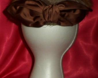 Vintage Fur, Velvet & Satin Bow Chocolate Brown Halo Style Hat