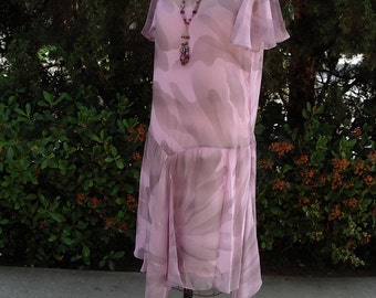 Smokey Print Lilac Chiffon Dress Late 1920's Inspired Designer Sample Item #319  Wedding Apparel