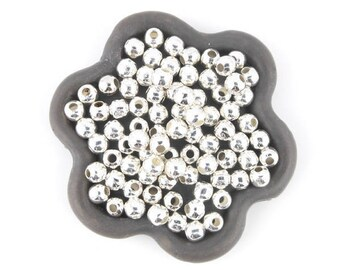 x 200 round bead 4mm antique silver smooth 4mm (03 c)