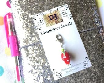 Strawberry  TN Charm, Junk Journal Charm, Traveler's Notebook Charm, Strawberry Zipper Pull, Planner Charm, Purse Charm, Bible Charm