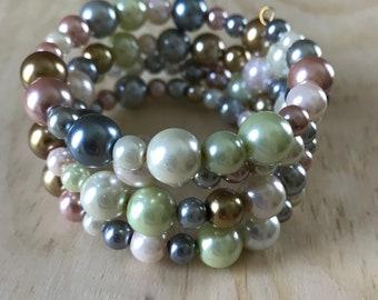 Multicolor Faux Pearl Wrap Bracelet