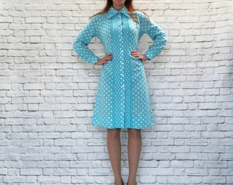 Vintage 60s Polka Dot Tuxedo Ruffled Pleated A-Line Midi Dress Aqua L XL
