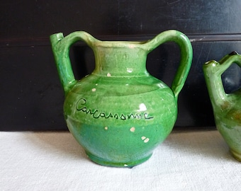 Jug of Carcassonne French vintage PROVENCE Terracotta - french mediterranean Green pottery - Glazed terracotta - French - French Pottery