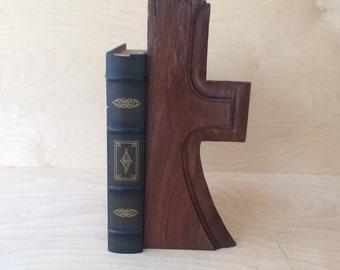 ooak walnut bookend cross shelf sitter