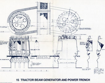 1977 TRACTOR BEAM Generator and Power Trench Star Wars Vintage Blueprint Poster