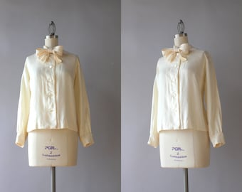 1960s Blouse / Vintage 50s Silk Bow Neck Blouse / 1950s Cream Silk Twill Tie Neck Blouse M medium S small