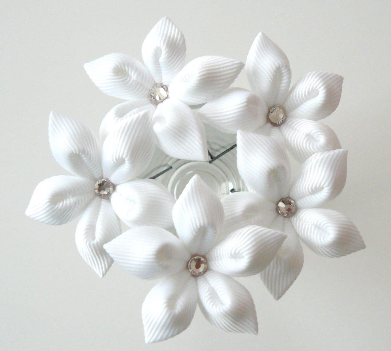 White Flower Hair Pins For Bride Wedding Hair Flowers Bridal